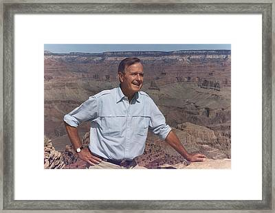 President Bush Hiking On The Kaibab Framed Print by Everett