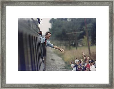 President Bush Waves From The Back Framed Print by Everett