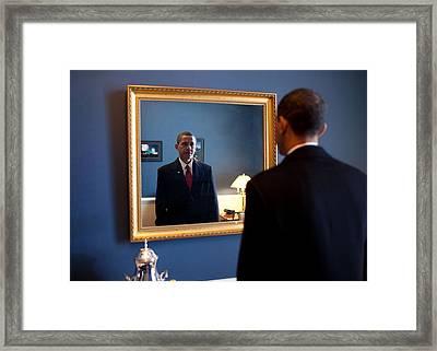 President-elect Barack Obama Checks Framed Print by Everett