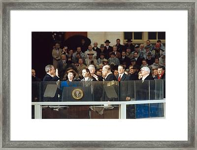 President-elect George W. Bush Is Sworn Framed Print by Everett