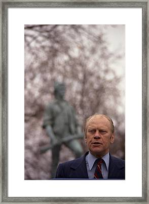 President Ford Speaks On The 200th Framed Print by Everett