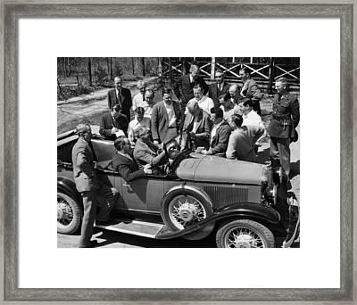President Franklin D. Roosevelt In Car Framed Print by Everett