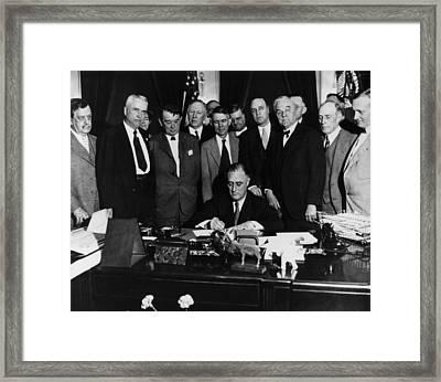 President Franklin D. Roosevelt Seated Framed Print by Everett