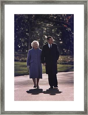 President George And Barbara Bush Take Framed Print by Everett