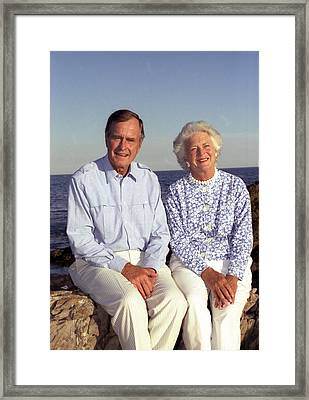 President George Bush And Wife Barbara Framed Print by Everett