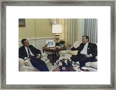 President George Bush Meets Framed Print by Everett