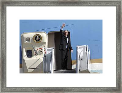 President George Bush Waves Good-bye Framed Print by Stocktrek Images