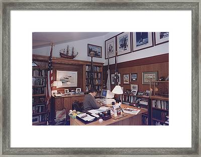 President George Bush Works Framed Print by Everett