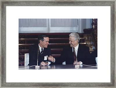 President George H. W. Bush And Russian Framed Print by Everett