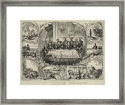 President Grant With Group Of Men Framed Print by Everett
