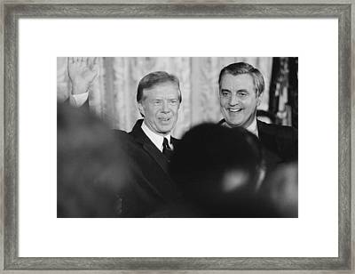 President Jimmy Carter, And Vice Framed Print by Everett