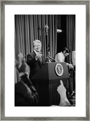 President Jimmy Carter Taking Framed Print by Everett