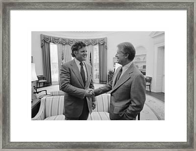 President Jimmy Carter With Senator Framed Print by Everett