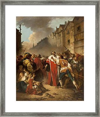 President Mole Manhandled By Insurgents Framed Print by Francois Andre Vincent