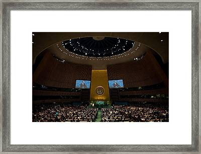 President Obama Addresses The Un Framed Print by Everett