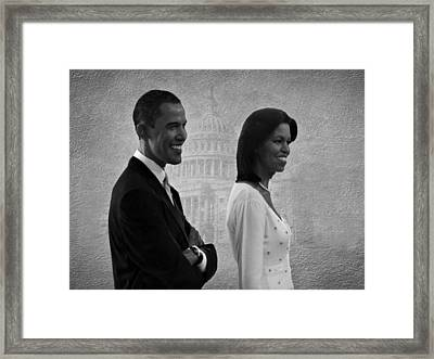 President Obama And First Lady Bw Framed Print by David Dehner
