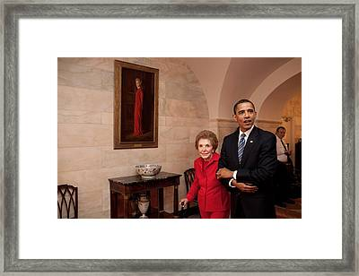 President Obama And Former First Lady Framed Print by Everett