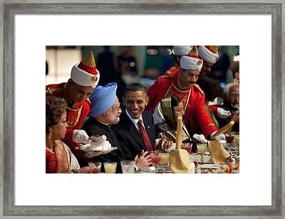 President Obama And Indian Prime Framed Print by Everett
