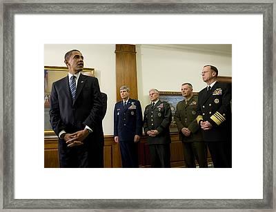President Obama At The Pentagon Framed Print by Everett