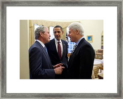 President Obama Listens Framed Print by Everett