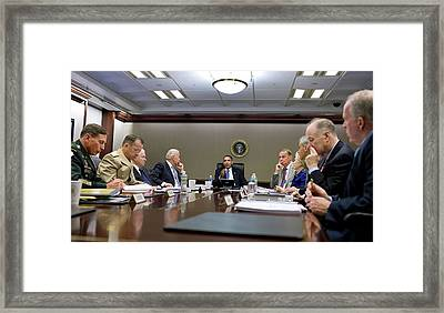 President Obama Meets With His National Framed Print by Everett