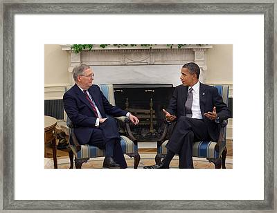 President Obama Meets With Senate Framed Print by Everett