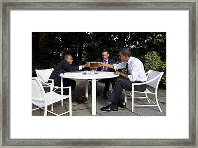 President Obama Professor Henry Louis Framed Print by Everett