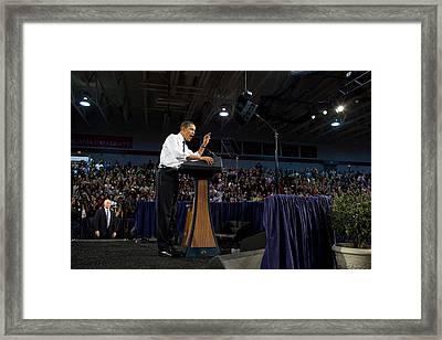 President Obama Promotes Health Care Framed Print by Everett