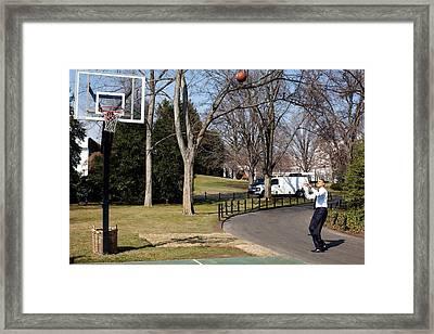 President Obama Shoots Hoops Framed Print by Everett