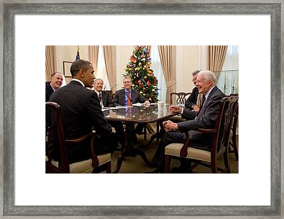 President Obama Talks With Former Framed Print by Everett