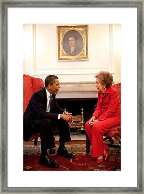 President Obama With Former First Lady Framed Print by Everett