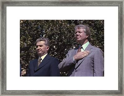 President Of Romania Nicolae Ceausescu Framed Print by Everett