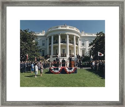 President Reagan Making Remarks Framed Print by Everett