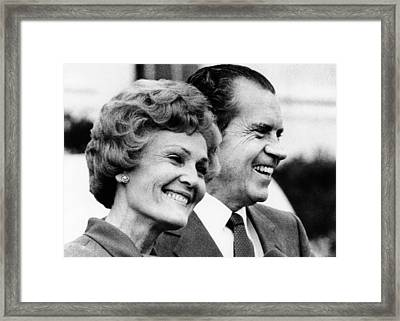 President Richard Nixon And First Lady Framed Print by Everett