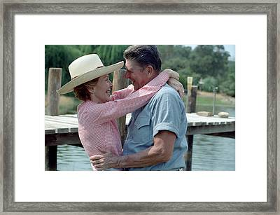 President Ronald And Nancy Reagan In An Framed Print by Everett