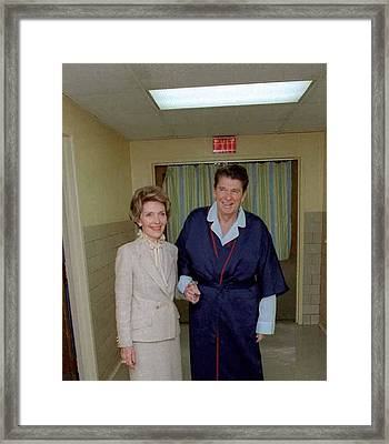 President Ronald Reagan With Wife Nancy Framed Print by Everett