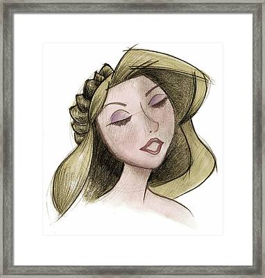 Princess - Drawing With Digital Color Framed Print by Andrew Fling