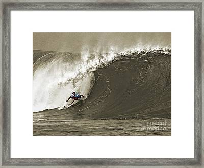 Pro Surfer Julian Wilson Surfing In The Pipeline Masters Contest Framed Print by Paul Topp