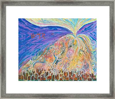 Prophetic Message Sketch 22 Sanctify Glory Pouring Into Vessel On The Mountain  Framed Print by Anne Cameron Cutri