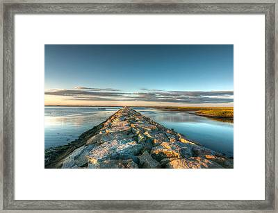 Province Town Jetty At Sunrise Framed Print by Linda Pulvermacher
