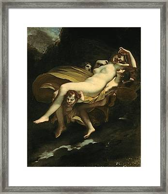 Psyche Transported To Heaven Framed Print by Pierre-Paul Prud hon