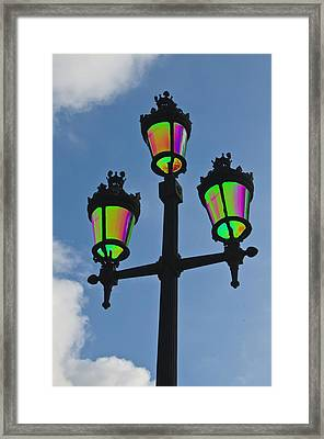 Psychedelic Streetlamps Framed Print by Richard Henne