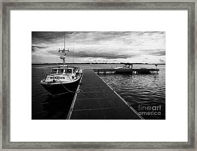 Public Jetty And Island Warrior Ferry On Rams Island In Lough Neagh Northern Ireland  Framed Print by Joe Fox