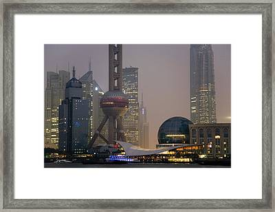 Pudong New Area And Oriental Pearl Framed Print by Scott S. Warren