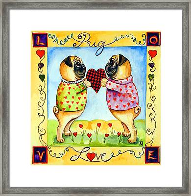 Pug Love Framed Print by Lyn Cook