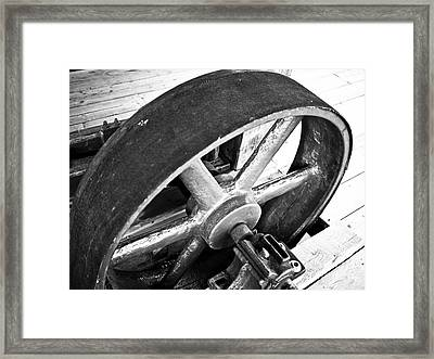 Pulley Wheel From Industrial Sawmill Framed Print by Paul Velgos