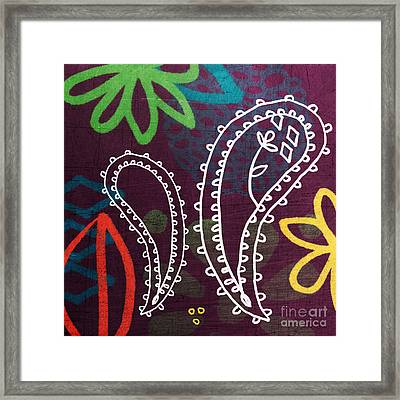 Purple Paisley Garden Framed Print by Linda Woods