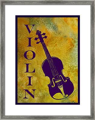 Purple Violin On Gold Framed Print by Jenny Armitage