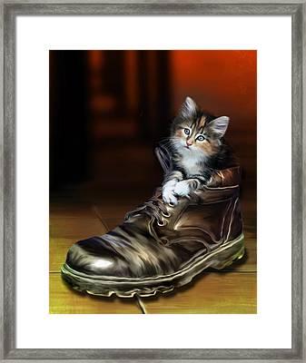 Puss In Boot Framed Print by Julie L Hoddinott