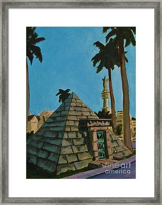 Pyramid Tomb In Cemetary Framed Print by John Malone